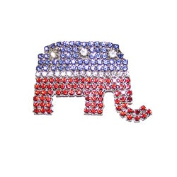 Dettie Originals Red, White and Blue Crystal Elephant Pin