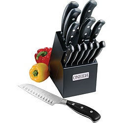 Oneida 14-piece Triple Rivet Knife Set with Black Lacquer Block