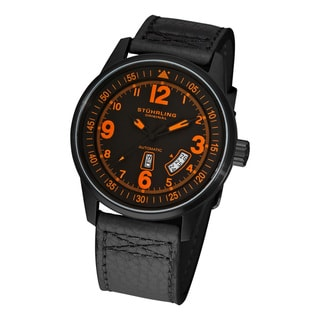 Black-and-Orange Stuhrling Original Tuskegee Skymaster Men's Automatic Leather Strap Watch