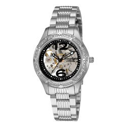 Stuhrling Original Lady Executive Women's Automatic Skeleton Watch with Black Outer Ring