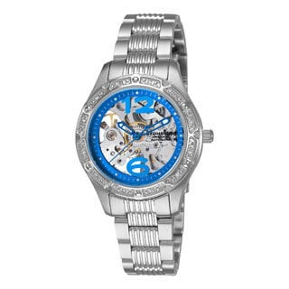 Stuhrling Original Lady Executive Women's Automatic Skeleton Watch with Blue Outer Ring