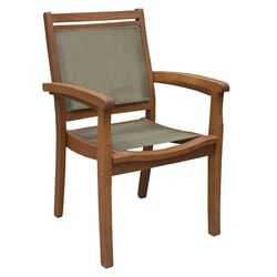 Sling and Eucalyptus Brown Stackable Arm Chair