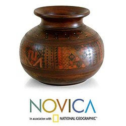 Handcrafted Ceramic 'Inca Mother' Decorative Cuzco Vase (Peru)