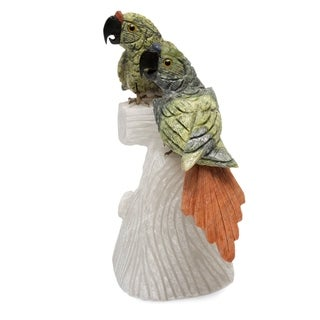 Handcrafted Multi-gemstone 'Parrot Love' Sculpture (Peru)