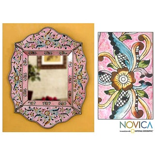 Handcrafted Reverse Painted Glass 'Pink Floral' Wall Mirror (Peru)