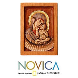Handcrafted Cedar 'Virgin of Caresses' Relief Panel Sculpture (Peru)