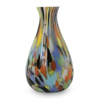 Rio Carnival All Occasion Gift Murano Inspired Handblown Glass Bright Multicolor Mid Century Modern Style Accent Vase (Brazil)