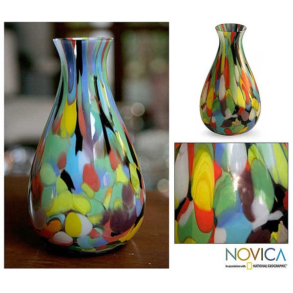 Hand-blown Glass 'Carnival Colors' Murano Vase (Brazil)
