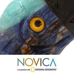 Handcrafted Multi-gemstone 'Blue Baby Parrot' Sculpture (Peru)