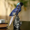 Handcrafted Multi-gemstone 'Blue Baby Parrot' Sculpture (Peru)