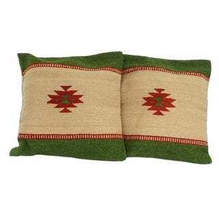 Handmade Wool Sierra Zapotec Set of Two Cushion Covers (Mexico)