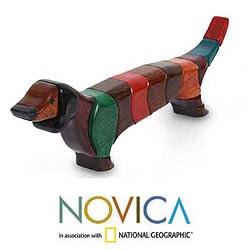 Big Happy Dachsund Year Round Dog Decorator Accent Red Green Blue Brown Puzzle Look Wood Animal Art Work Sculpture (Peru)