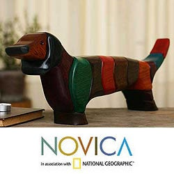 Handcrafted Ishpingo Wood 'Big Happy Dachshund' Sculpture (Peru)
