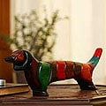 Handcrafted Ishpingo Wood 'Medium Happy Dachshund' Sculpture (Peru)