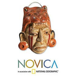 Handcrafted Ceramic 'Maya Jaguar Priest' Mask (El Salvador)
