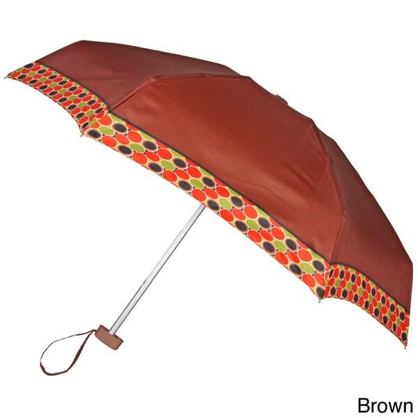 Leighton 41-inch Brown Circle Border Compact Umbrella