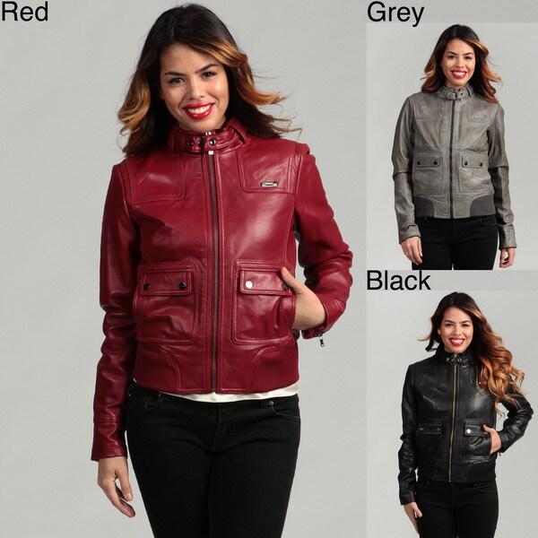 Sean John Women's Stand Collar Leather Jacket