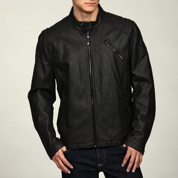 Kenneth Cole Men's Distressed Faux Leather Moto Jacket FINAL SALE