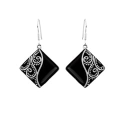 Sterling Silver Square Scroll Onyx Earrings (Indonesia)