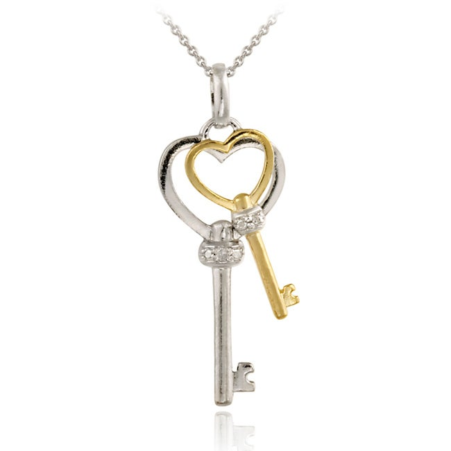 DB Designs Two-tone Sterling Silver Diamond Accent Double Heart Key Necklace