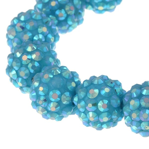 Aqua Blue Crystal Ball Stretch Bracelet