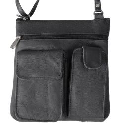 Journee Collection Black Genuine-Leather Cross-Body Bag