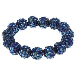 Blue Crystal Ball Stretch Bracelet