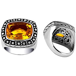 Sterling Silver Faceted Rectangular Citrine Bali Ring (Indonesia)