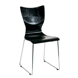 Laurel Black Wood Embossed Chairs (Set of 2)