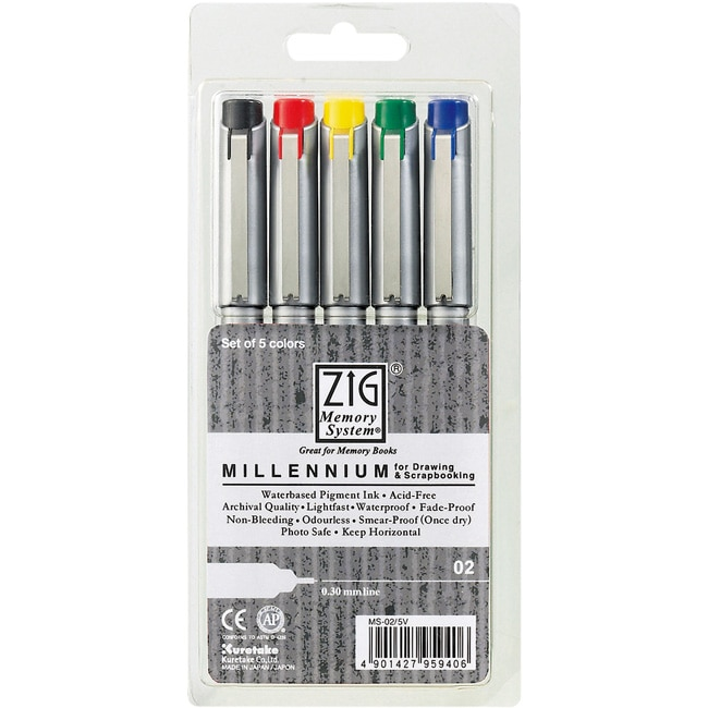 Zig Memory System Millennium 0.3mm Markers (Pack of 5)