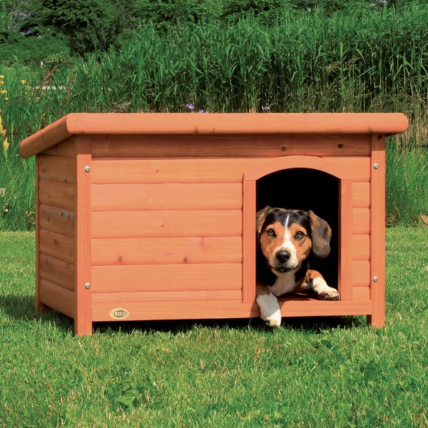 Trixie Natura Medium Weatherproof Flat-roof Glazed-pine Doghouse