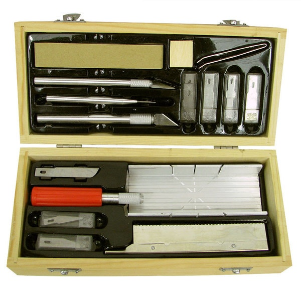 Hobby 48-piece Art Knife Set and 30-piece Saw Set with Storage Boxes