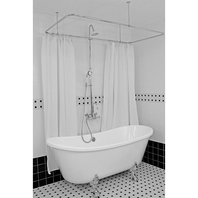 Spa Collection 73-inch Bateau Clawfoot Tub and Shower Pack