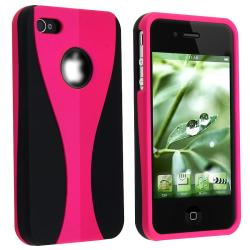 Hot Pink Rubber Coated Case for Apple iPhone 4