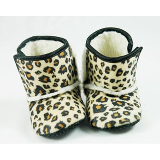 Brown Leopard Infant Girl's Crib Boots