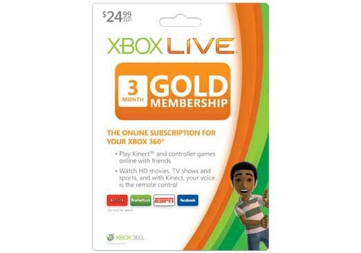 Xbox 360 - Live 3 Month Card Gold Card