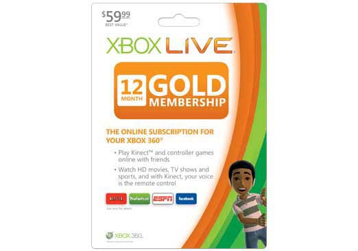 Xbox 360 - Live 12-Month Gold Subscription Card - By Microsoft