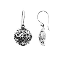Sterling Silver Floral Scroll Dangle Earrings (Indonesia)