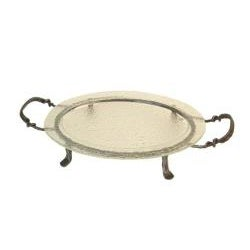 Oval Textured Glass Serving Platter and Iron Stand
