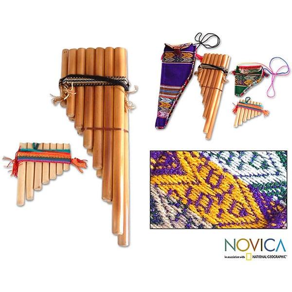 Set of 2 Handcrafted Bamboo 'Inca Serenade' Zampona Panpipes (Peru)