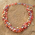 Stainless Steel 'Lovely' Pearl and Carnelian Choker (6 mm) (Thailand)