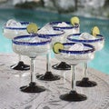 Set of 6 Blown Glass 'Blue Roots' Margarita Glasses (Mexico)