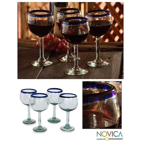 Set of 4 Blown Glass 'Sapphire Globe' Wine Glasses (Mexico)