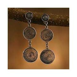 Moon Shadows Concentric Stars Mystical Prosperity Jewelry Handmade Sterling Silver Women's Drop Filigree Earrings (Peru)[