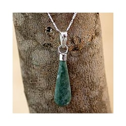 Dewdrop Sleek Everyday Dark Green Jade with 925 Sterling Silver 18 Inch Chain Modern Womens Pendant Necklace (Guatemala)