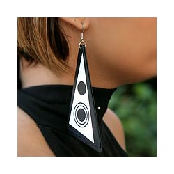 Recycled LP Vinyl Record 'Copacabana Eclipse' Dangle Earrings (Brazil)