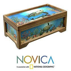 Handcrafted Reverse Painted Glass 'Sea Life' Jewelry Box (Peru)