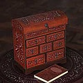 Handcrafted Leather 'Motifs' Mini Chest of Drawers Jewelry Box (Peru)