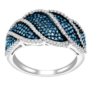 Sterling Silver 3/4ct TDW Blue and White Diamond Pave Ring (H-I, I2)