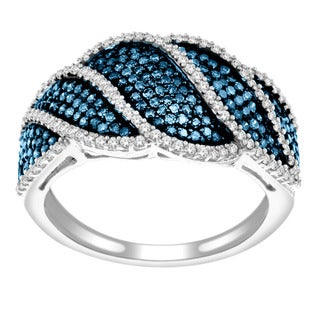 Sterling Silver 3/4ct TDW Blue and White Diamond Pave Ring (H-I, I2) with Bonus Necklace